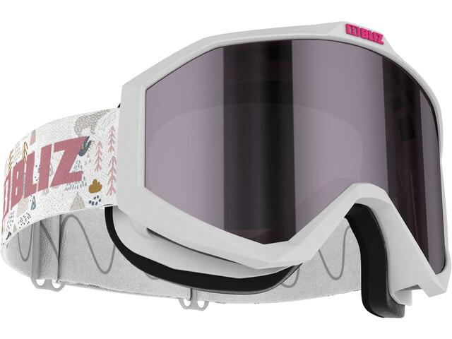 Bliz Liner Goggles Kinderen, white-black/pink-silver mirror